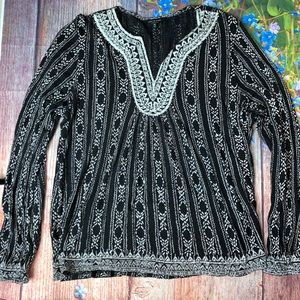 LUCKY BRAND XL Black White Boho Tunic Embroidered